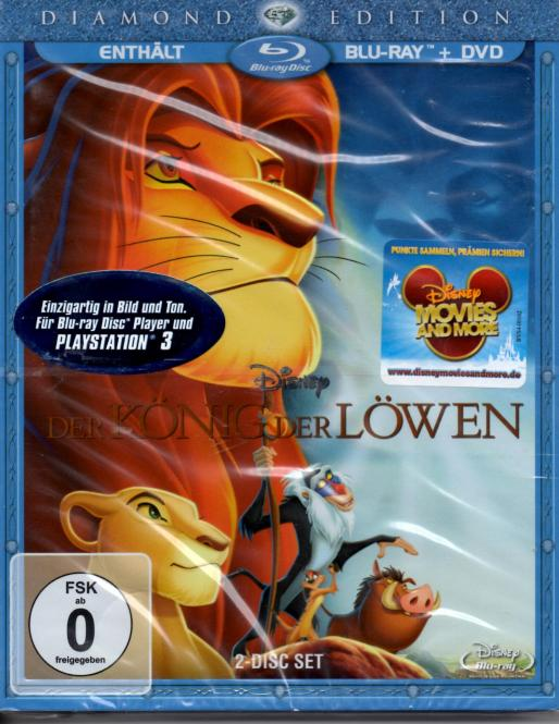 Der König Der Löwen 1 (Disney) (DVD & Blu Ray) (Animation) (Rarität)